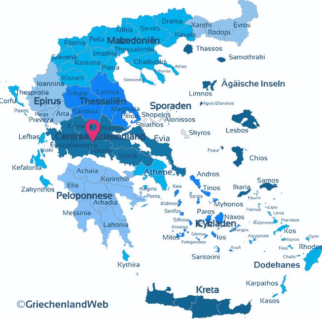 Karte Zentralgriechenland