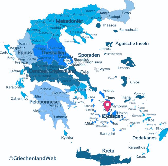 Karte Kykladen