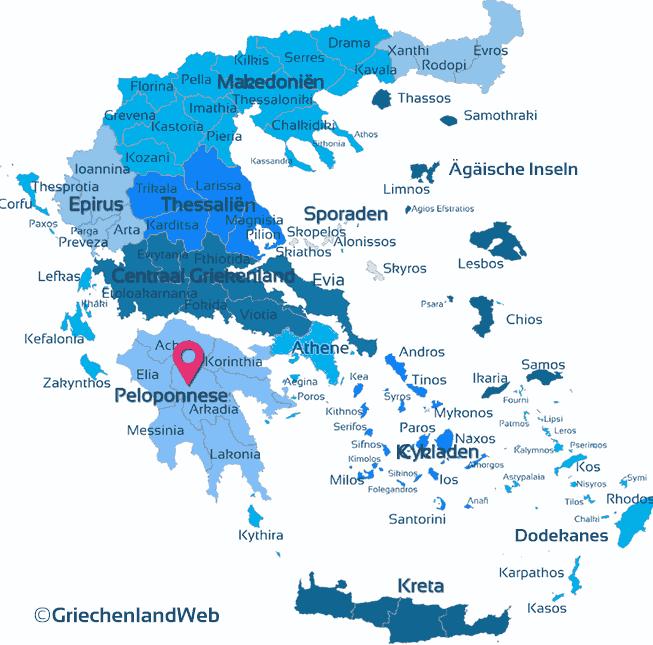 Karte Peloponnes