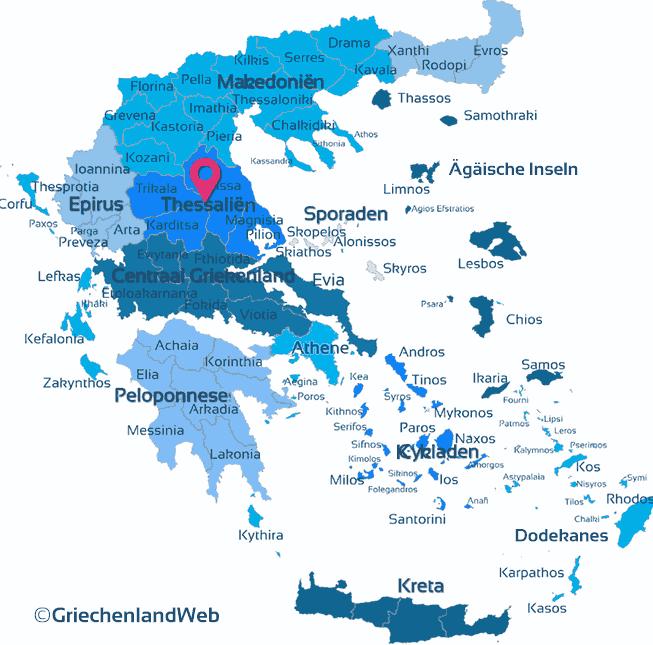 Karte Thessalien