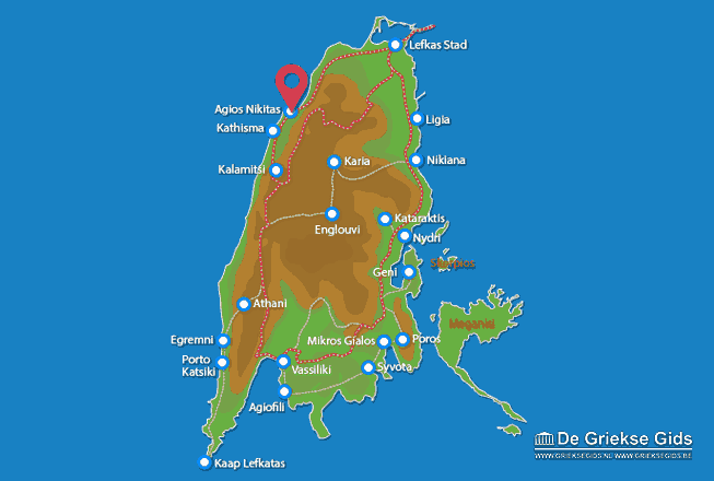 Karte Agios Nikitas