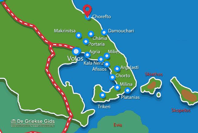Karte Chorefto Pilion