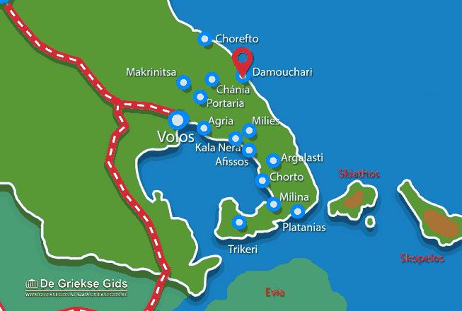 Karte Damouchari Pilion