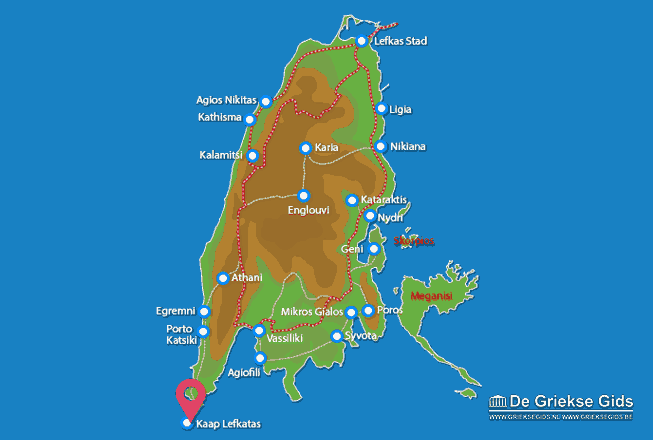 Karte Kaap Lefkatas