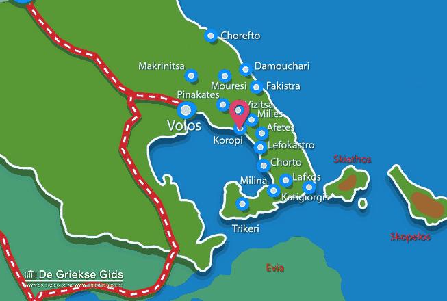 Karte Koropi Pilion
