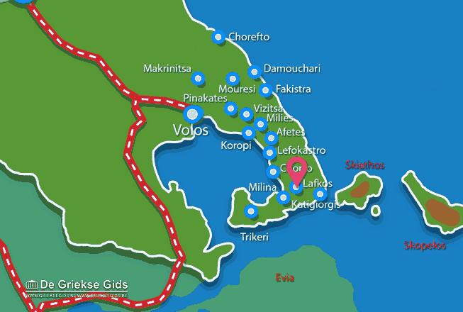 Karte Lafkos Pilion