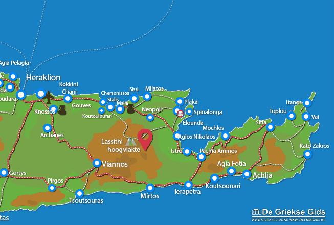Karte Lassithi Hochebene