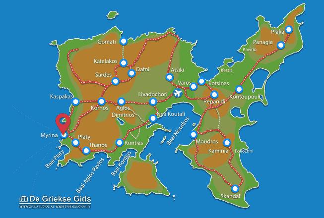 Karte Myrina