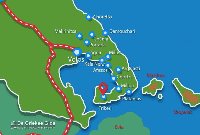 Karte Trikeri Pilion