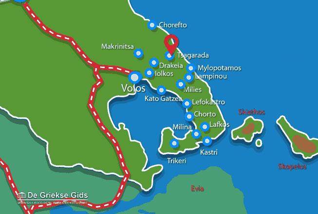 Karte Tsangarada Pilion